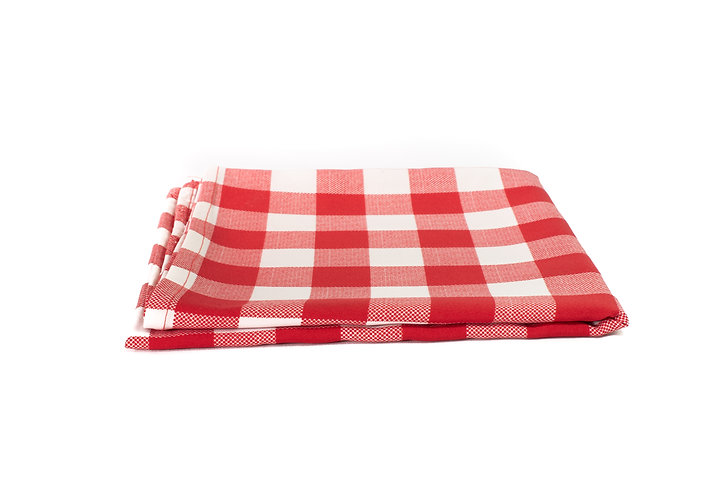 Red and White Large Check Overlay Cotton