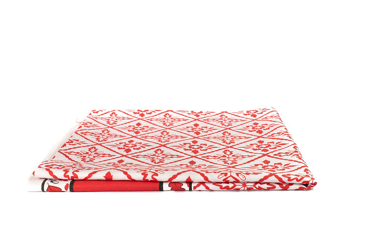 Red and White Overlay Leaf Design Cotton