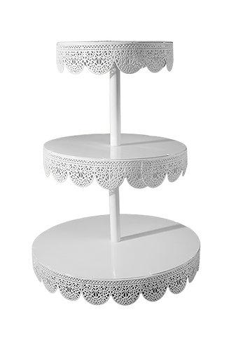 3 Tier Cake Stand - Filigree, White