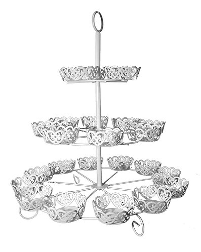 Cup Cake Stand - Filigree, White