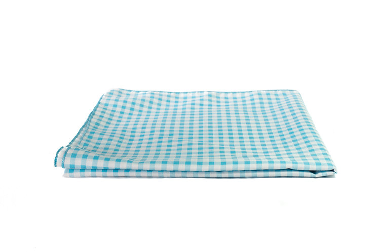 Blue and White Check Overlay Cotton