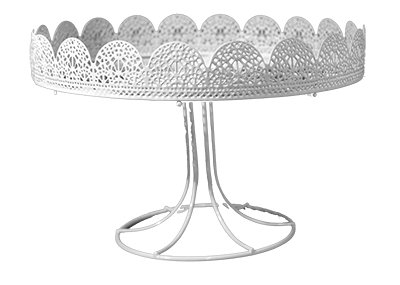 Cake Stand - Filigree with Foot, White