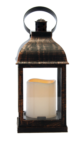 Candle Lantern - Brown (Battery Operated)
