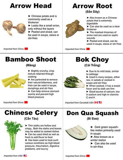 Arrow Head, Arrow Root, Bamboo Shoot, Bo