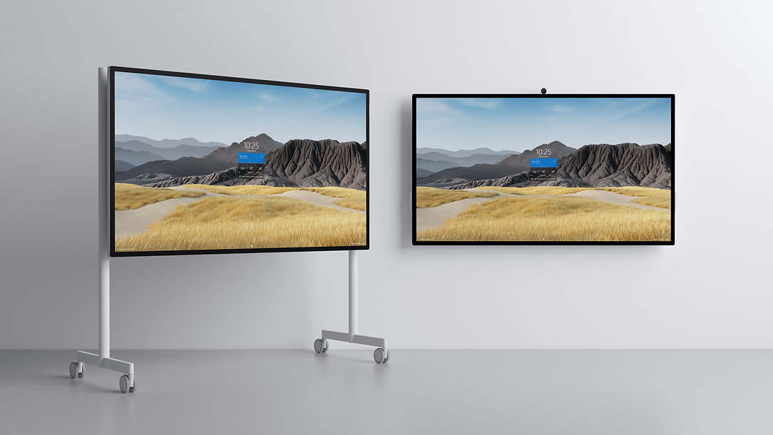 Surface Hub 2S 85_rolling stand and wall