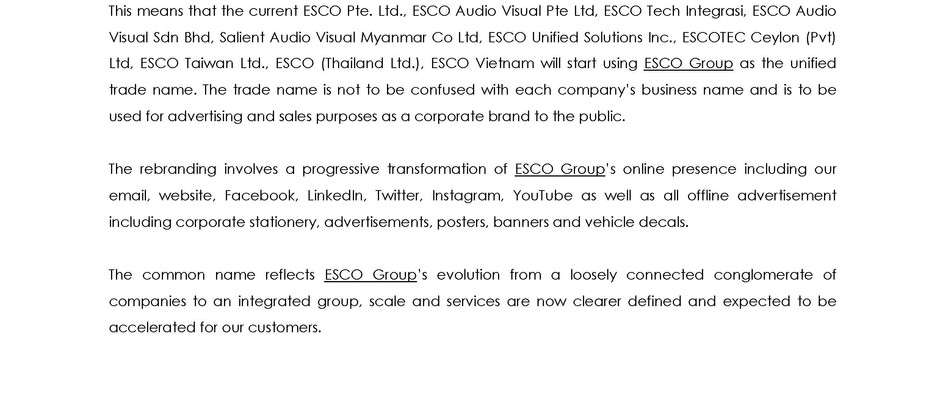 ESCO Group: Collective Identity of Companies