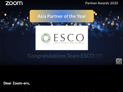 "ESCO "" Asia Partner of The Year 2020 "" 수상 by Zoom"