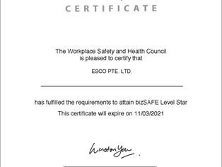 ESCO is now bizSAFE STAR certified!