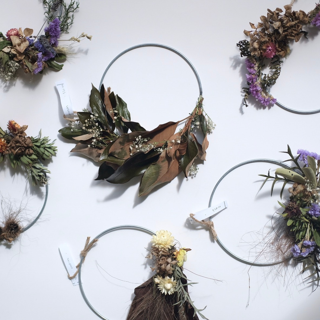 Dried flower wreath workshop Auckland