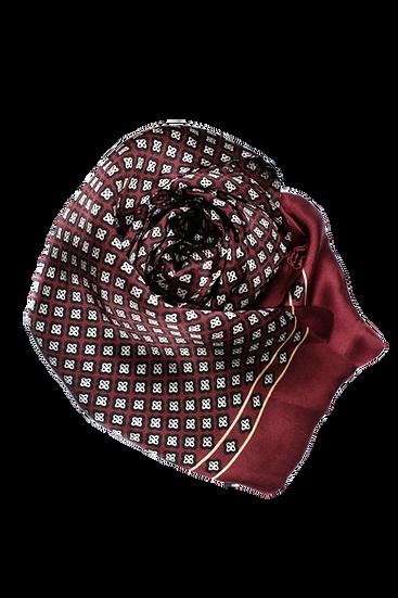 酒紅色圖騰頸巾