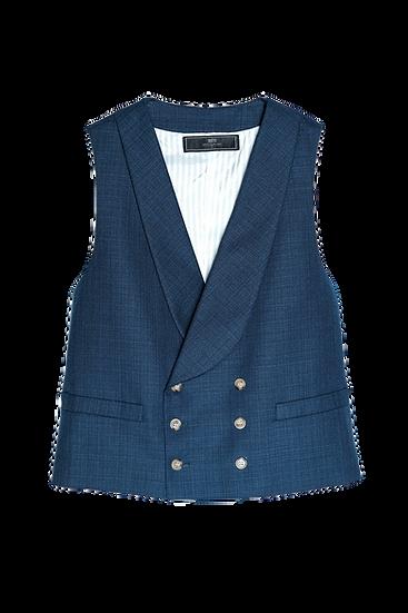 Blue Hopsack Waistcoat