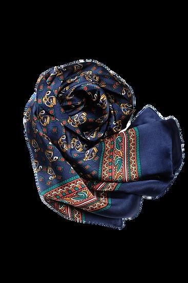 深藍圖騰頸巾