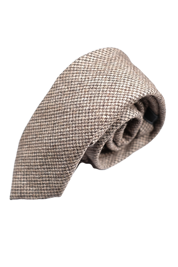 啡色千鳥格粗花呢領帶