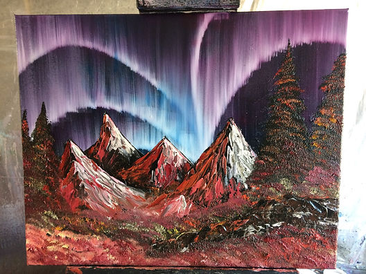 Northern lights in the mountains oil painting by Joeby Slight