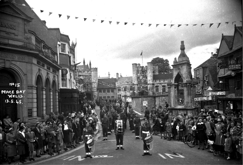 VE Day in Wells marketplace in 1945