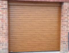 SWS roller door in Golden Oak
