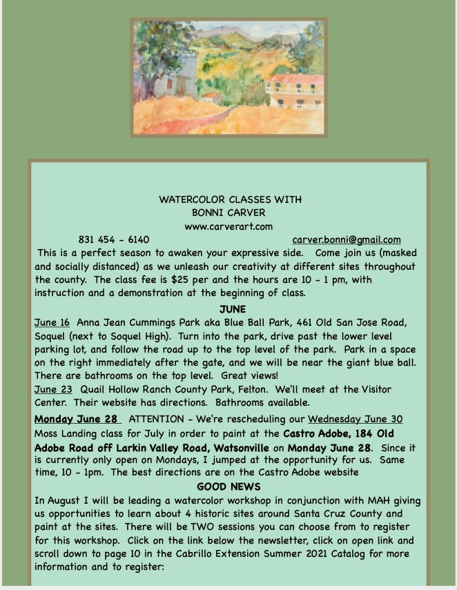 SS June 16 class and Cabrillo workshop i