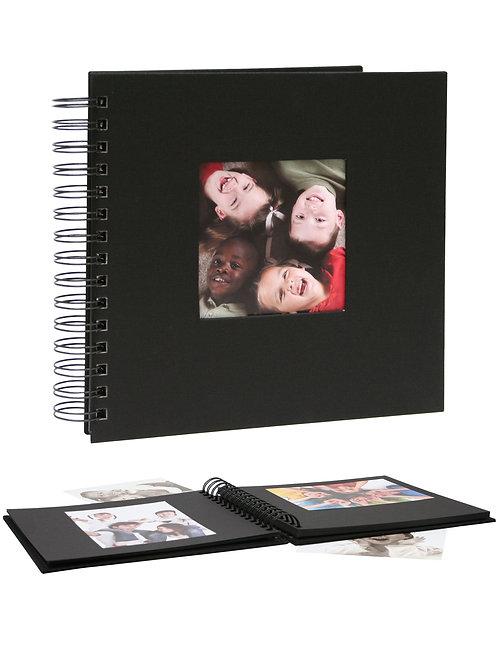 Ringfotoalbum schwarz mit Umschlag aus Leinen