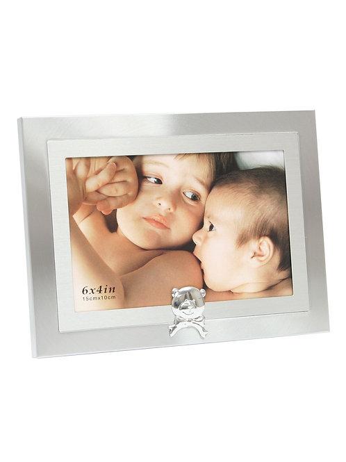 Kinderrahmen in silber mit kleinem Bär 10x15