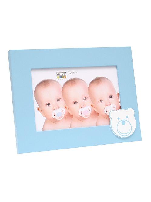 Blauer Babyrahmen mit Bärmotiv 10x15