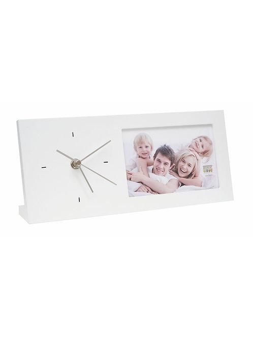 Foto-Uhr in weiß