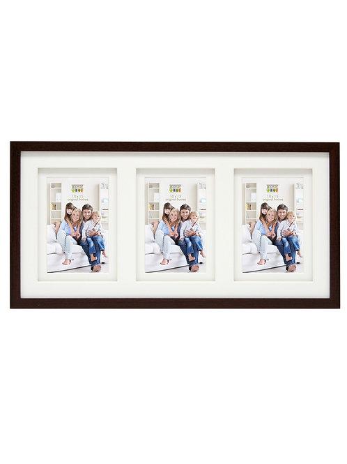 Brauner Bilderrahmen mit doppeltem Passepartout für 3 Bilder im Format 10x15