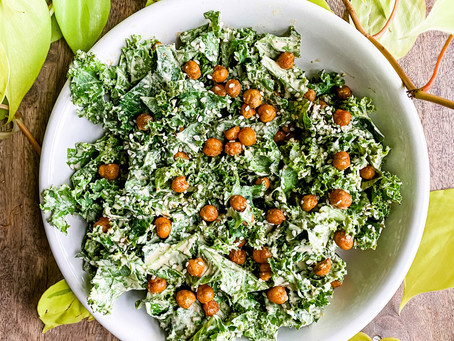 Creamy Tahini Kale Salad with Crispy Chickpeas