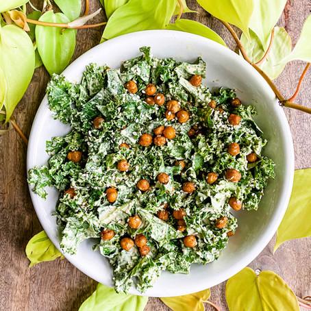 Creamy Tahini Kale Salad with Crispy Chickpeas