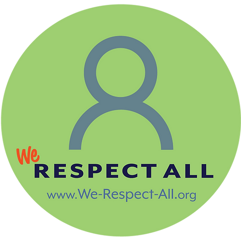"""10-Pack STICKER - 4"""" Round 'We Respect All' Window Cling"""