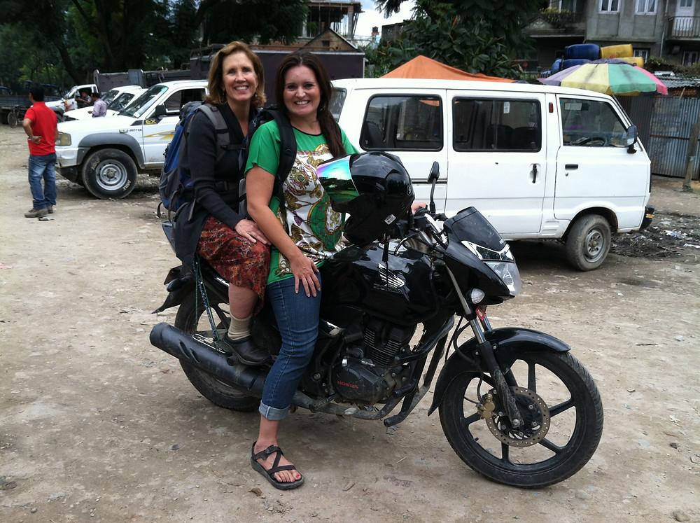 Riding with Glenda to meet Dhru