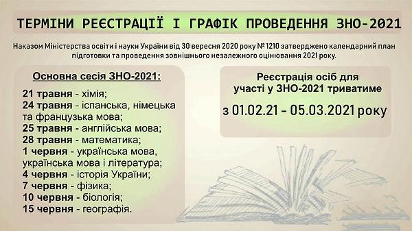 Терміни реєстрації та проведення ЗНО 202