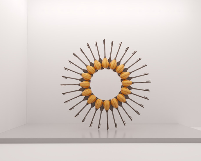 ART LEXÏNG Elvin Nabizade The Sun Circle of Cura 2019 32 saz music instruments installation 300 x 300 x 35 cm 118 x 118 x 14 in. Edition of 6