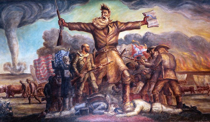 The mural painting Tragic Prelude, featuring abolitionist John Brown, for The Educator Podcast: Walking History series episode John Brown's Raid on Harpers Ferry