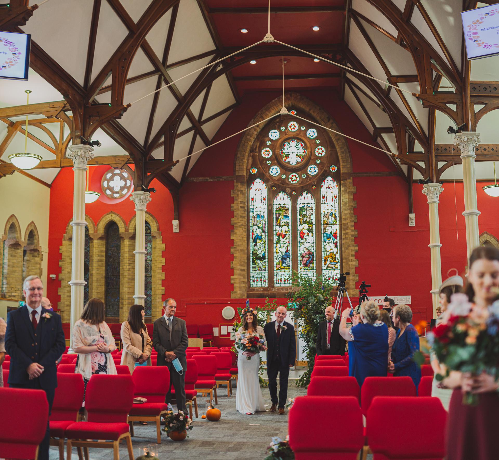 Belfast Bride Walking Down Ailse | Boho Bride | Quirky Wedding | Living Witness Weddings