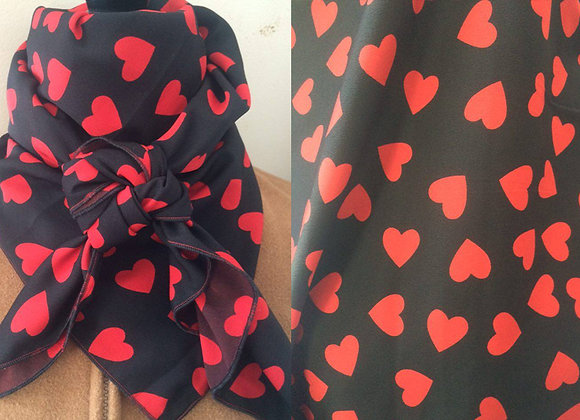 BLACK WITH RED HEARTS ABSTRACT PRINT