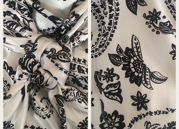 WHITE WITH BLACK PAISLEY