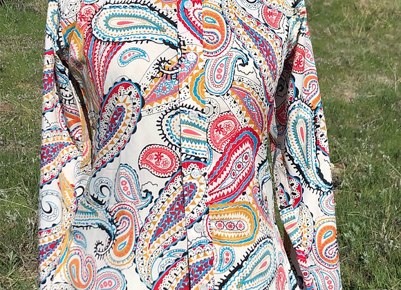 WHITE WITH RED AND TEAL PAISLEY SHIRT