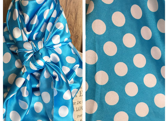 TURQUOISE BLUE WITH WHITE MEDIUM SIZE POLKA DOTS