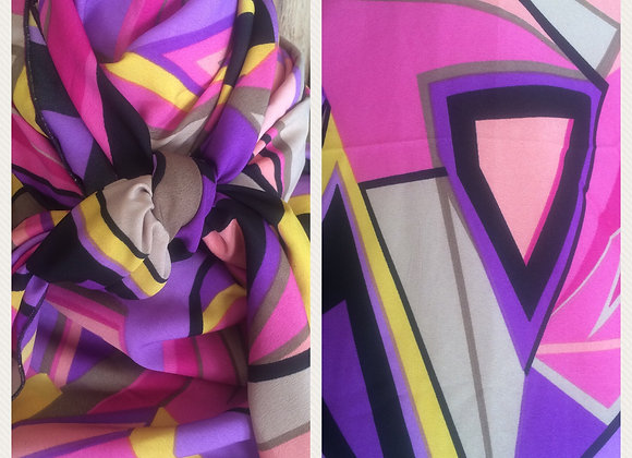 PINK, PURPLE, TAN AND BLACK RETRO ABSTRACT