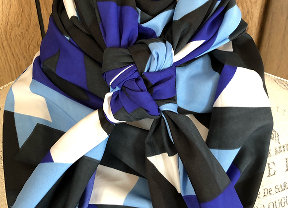 ROYAL BLUE, LIGHT BLUE, BLACK AND WHITE ABSTRACT