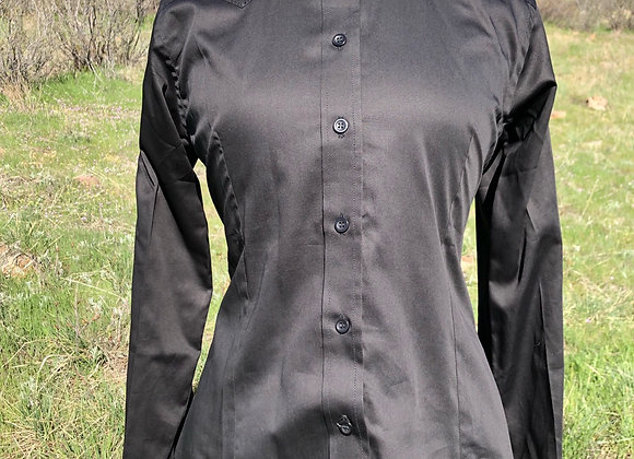 BLACK SATEEN SHIRT WITH BLING DETAIL