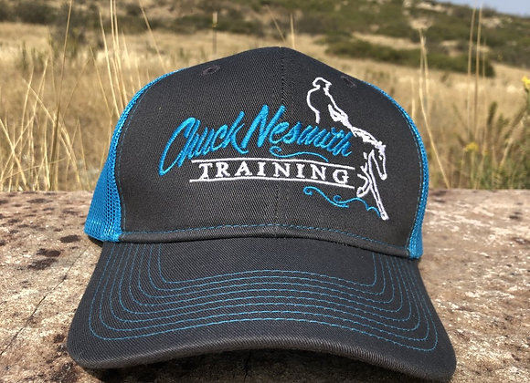 CHUCK NESMITH GREY WITH TEAL MESH SNAP BACK HAT
