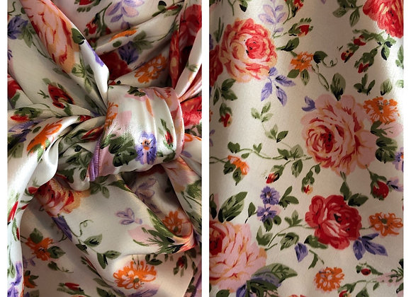WHITE WITH RED/ORANGE, PURPLE AND ORANGE FLORAL PRINT