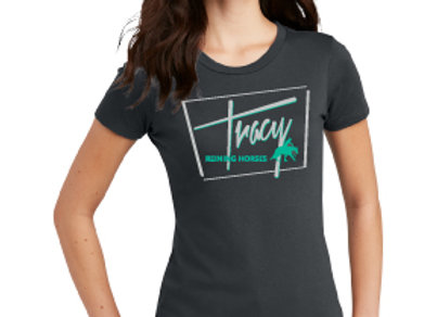 TRACY REINING HORSES WOMENS TEE WITH LOGO