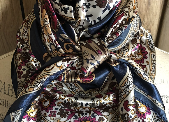 NAVY WITH WHITE, GOLD AND BURGUNDY PAISLEY