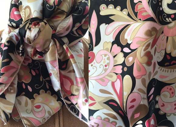 PINK, GOLD, WHITE AND BLACK FLORAL PRINT