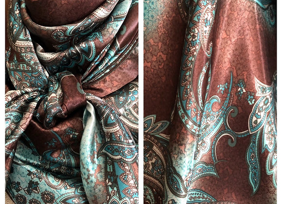 BROWN WITH TURQUOISE PAISLEY