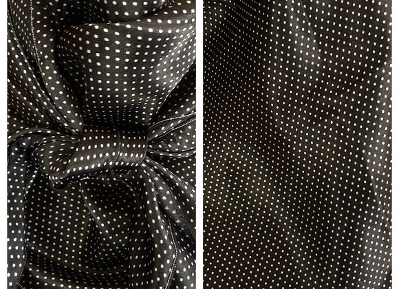 BLACK WITH SMALL WHITE POLKA DOTS