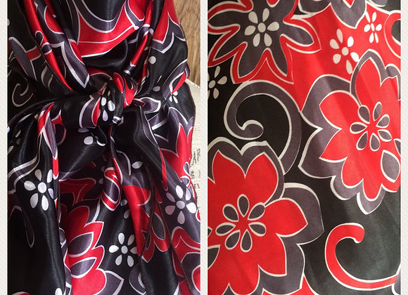 BLACK, RED AND GREY FLORAL