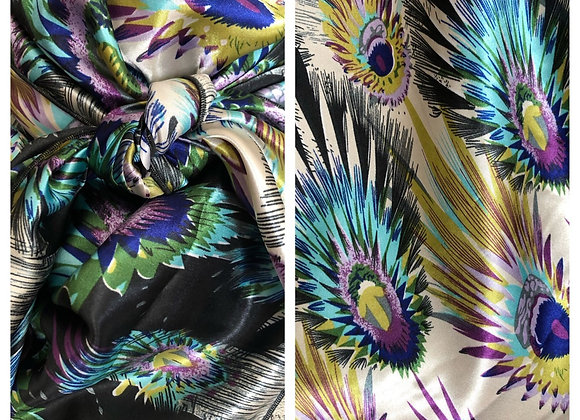 BLACK AND WHITE WITH AQUA, BLUE AND PURPLE PEACOCK PRINT